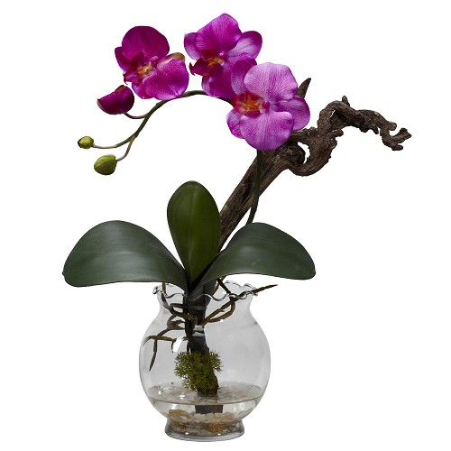 Purple Mini Phalaenopsis w/Fluted Vase Silk Flower Arrangement