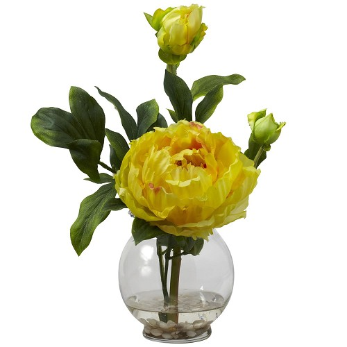 Yellow Peony w/Fluted Vase Silk Flower Arrangement