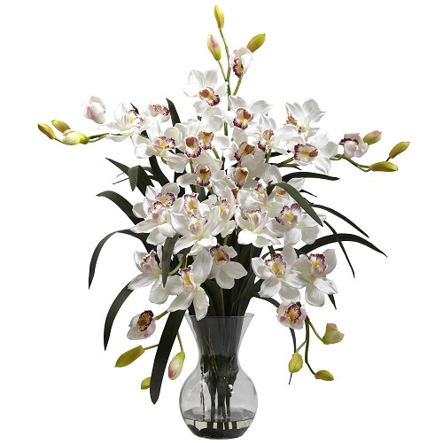 Large White Cymbidium w/Vase Arrangement