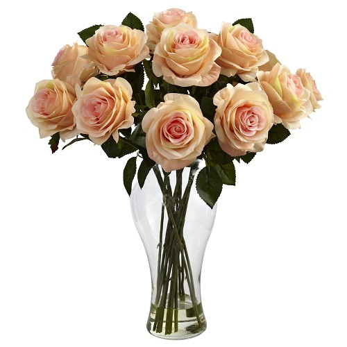 Blooming Peach Roses w/Vase
