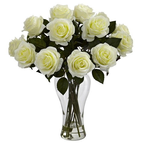 Blooming White Roses w/Vase
