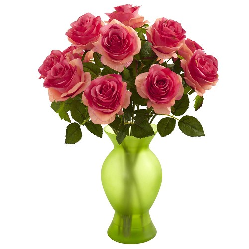 Dark Pink Roses w/Colored Glass Vase