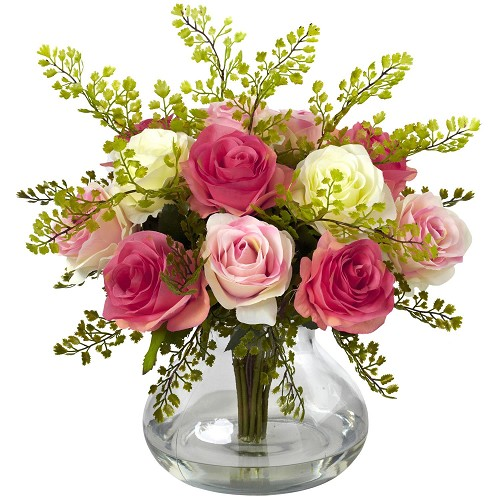 Assorted Pastel Rose & Maiden Hair Arrangement w/Vase