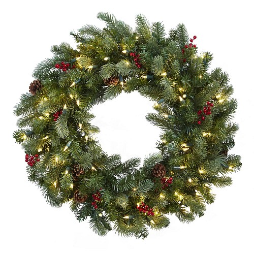 30'' Lighted Pine Wreath w/Berries & Pine Cones