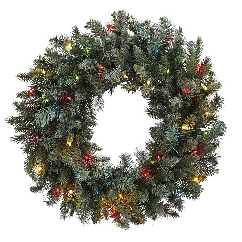 30'' Pine Wreath w/Colored Lights