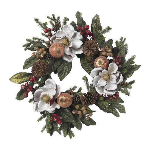 24'' Magnolia Pine Cone & Berry Wreath