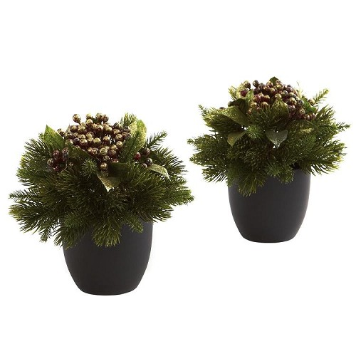 Pine & Berries with Black Planter (Set of 2)