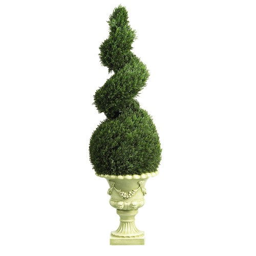 4' Cedar Spiral w/Decorative Vase (Indoor/Outdoor)