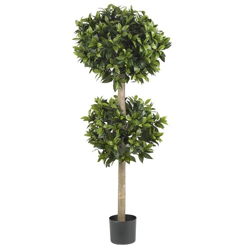 57'' Sweet Bay Double Ball Topiary Silk Tree