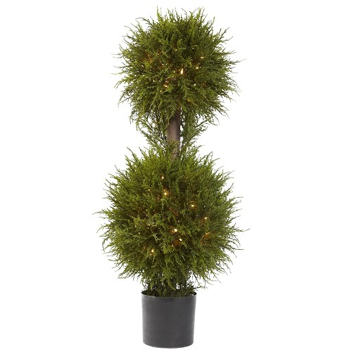 40'' Cedar Double Ball Topiary w/Lights