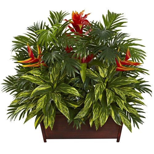 Tropical Garden w/Wood Planter